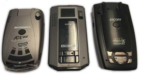beltronics rx65, escort ix, passport 9500ix